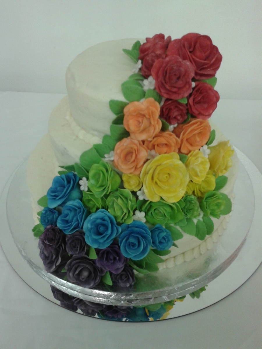 Crusting Cream Cheese Buttercream Icing With Hand Painted Roses Were Done In White And Colored Luster Dust Includes Leaves Small