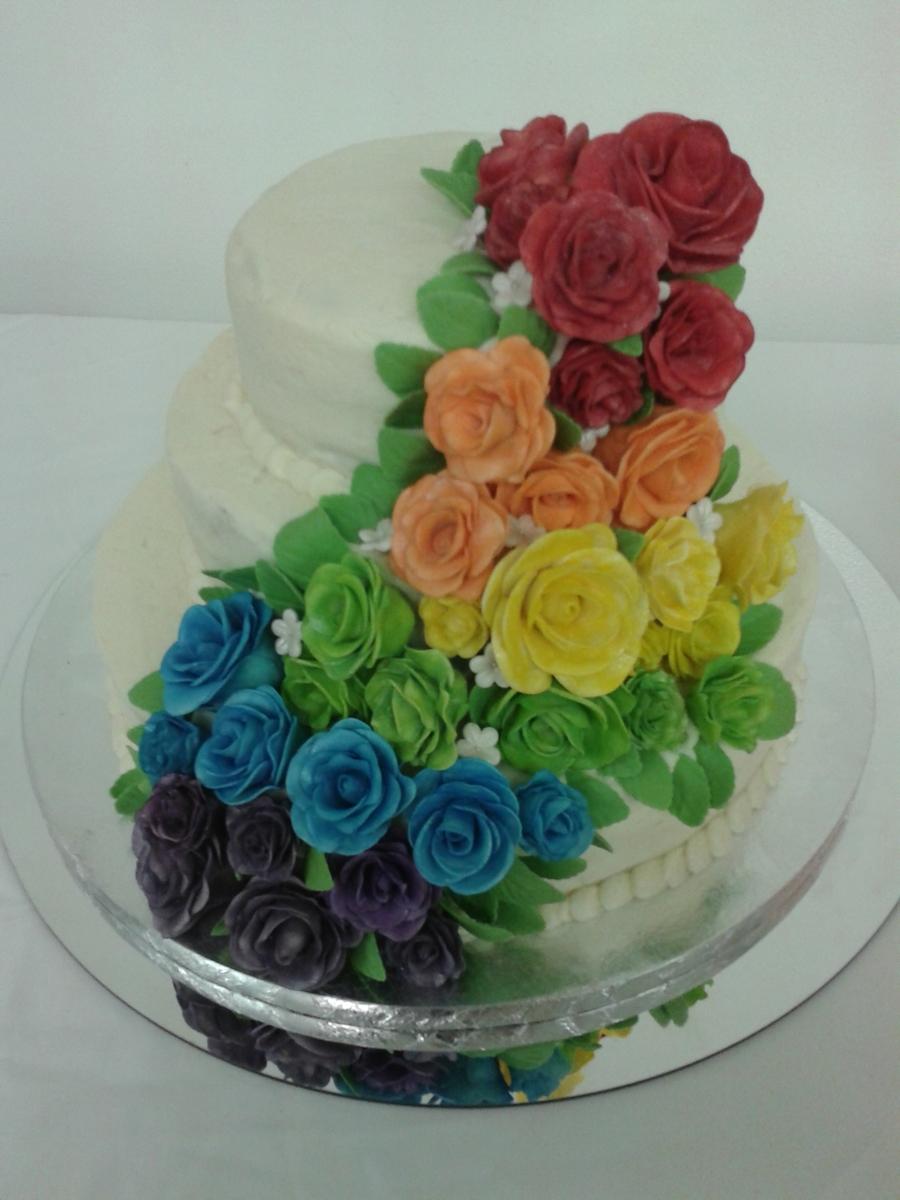 Rainbow Rose Wedding Cake Cakecentral Com