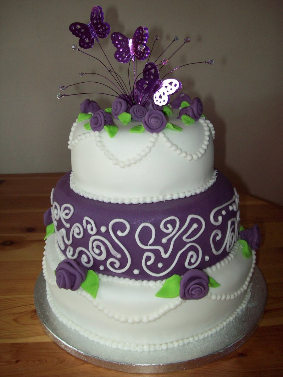 Purple Wedding Cake on Cake Central