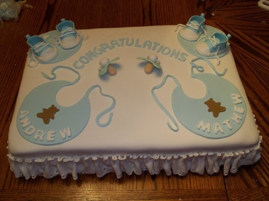Final  Baby Shower Cake For Twin Baby Boys.