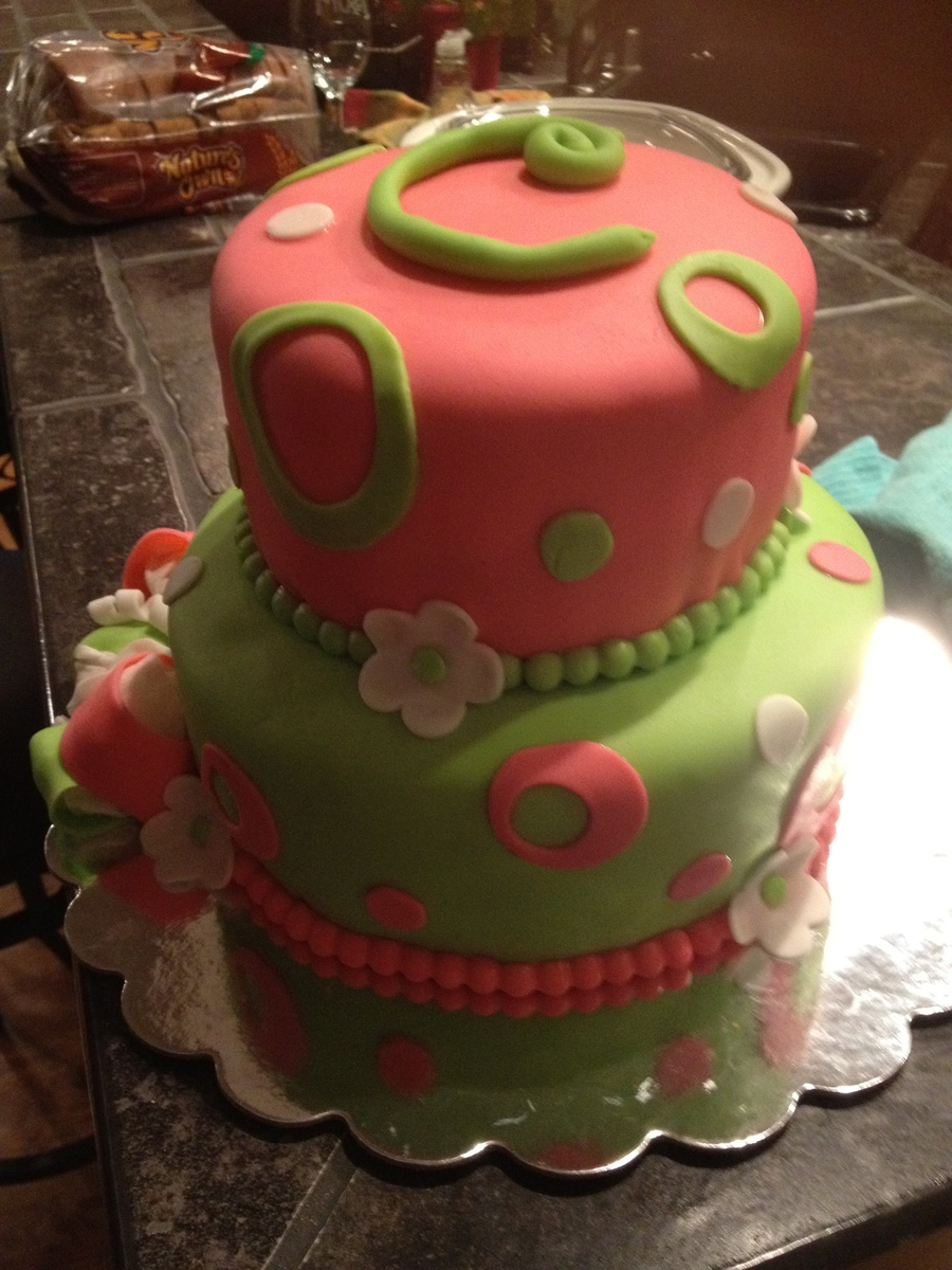 Pink And Green Fondant With Flowers on Cake Central