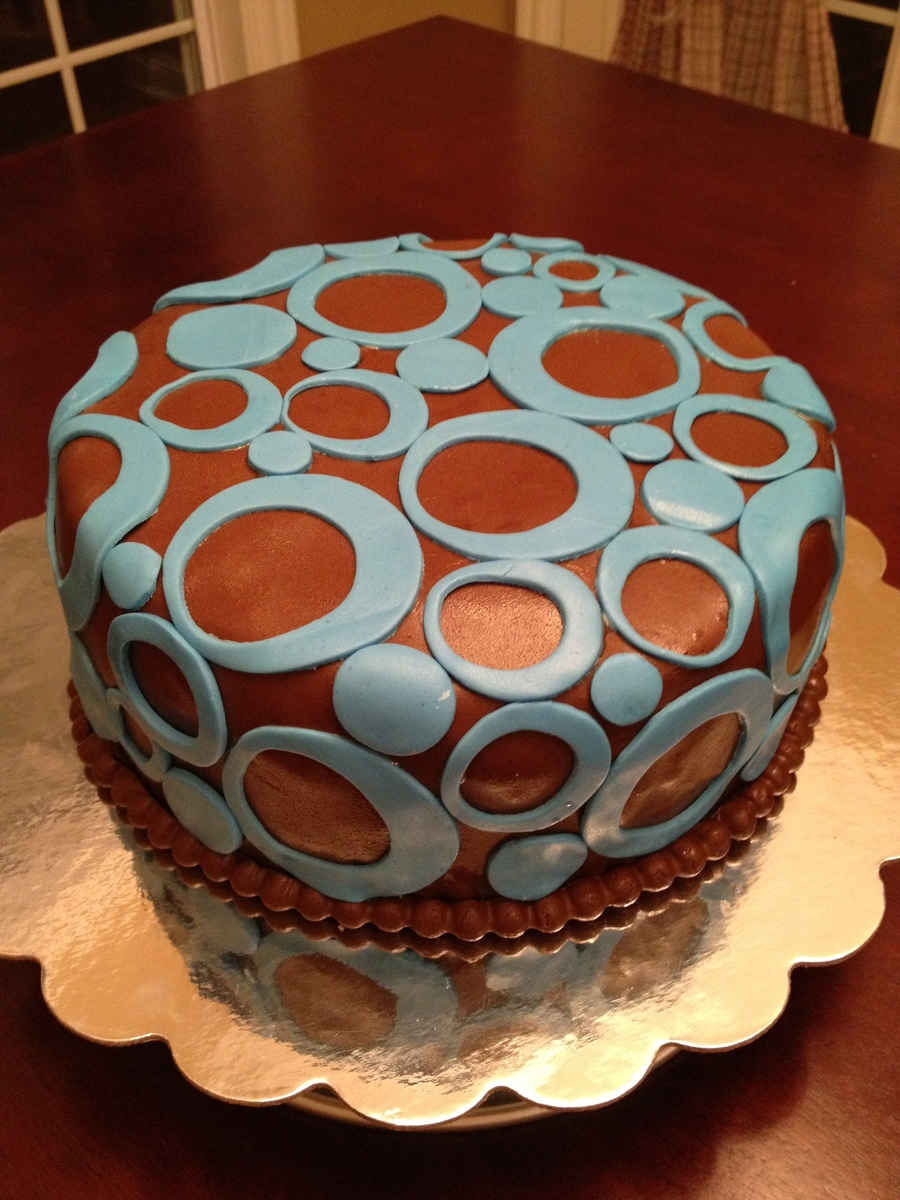 Blue Circles And Chocolate Fondant on Cake Central