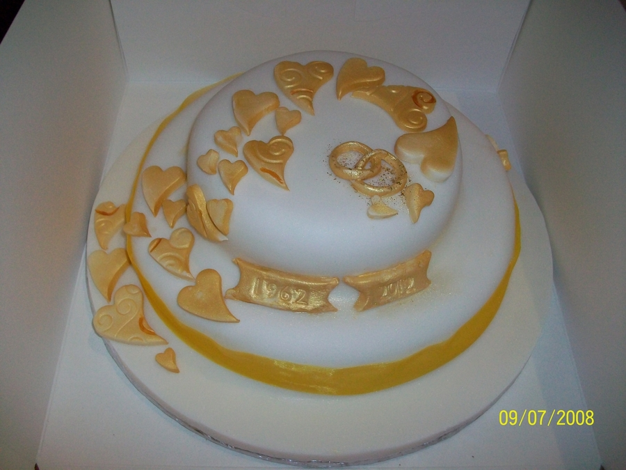 Golden Wedding Cake  on Cake Central