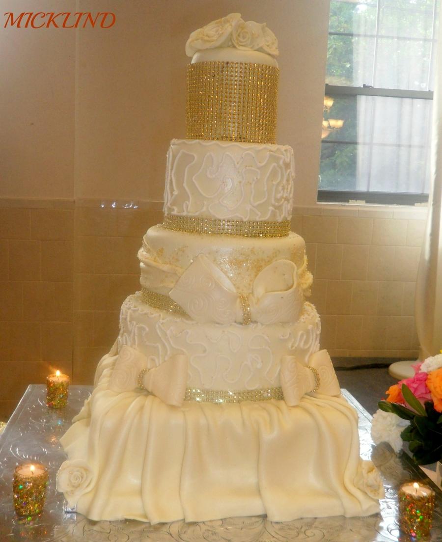 A 5 Tier Gold Wedding Cake - CakeCentral.com