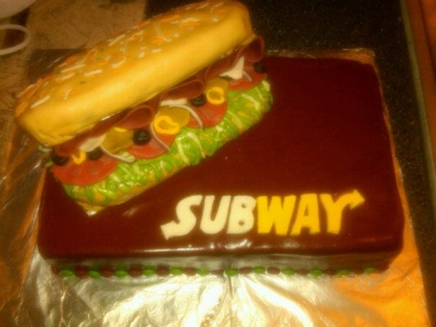 Subway Holiday Party Cake on Cake Central