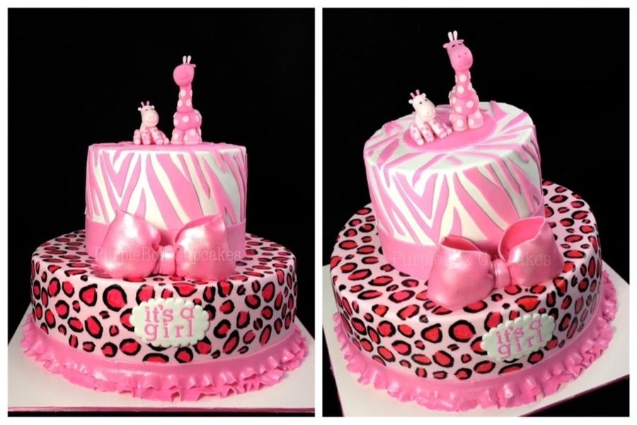 Wild Safari Pink Baby Shower Cake - CakeCentral.com