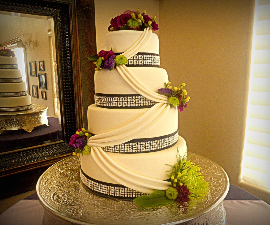 Purple And Silver Wedding Cake - CakeCentral.com