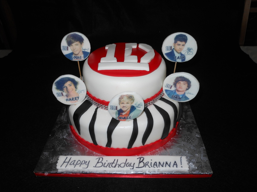 One Direction Zebra Print White Red And Black Cake on Cake Central