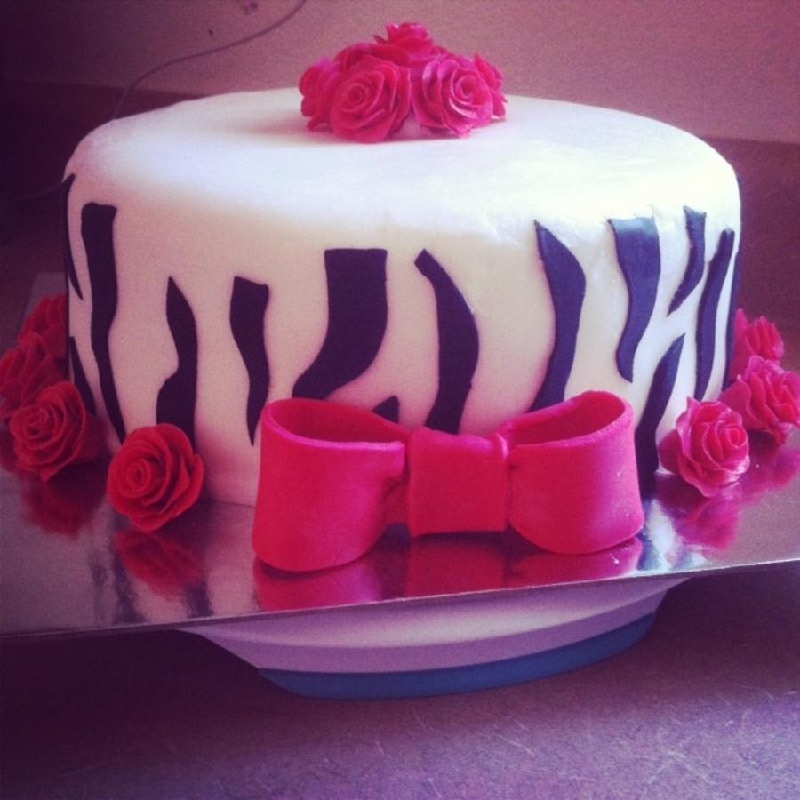 zebra and hot pink bridal shower cake on cake central