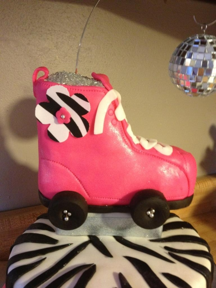 Zebra roller skates - This Cake Was For A Party At A Skating Rink The Theme Was Skating Diva Skate Is Rice Crispy Treat I Added A Disco Ball And Shimmer Dust To Everything