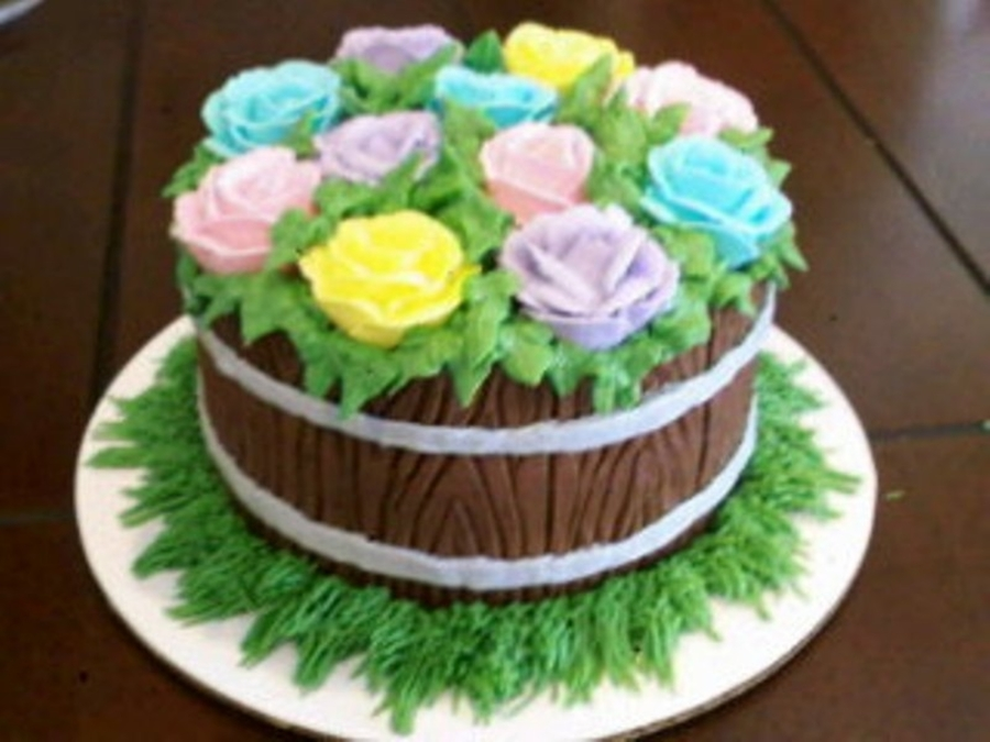 Flowers In A Wooden Barrel on Cake Central