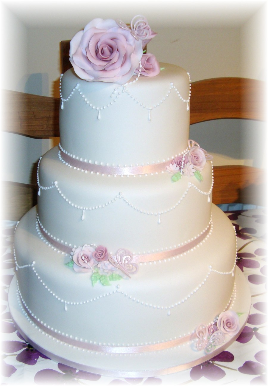 Pretty Dusky Pink Rose Wedding Cake on Cake Central