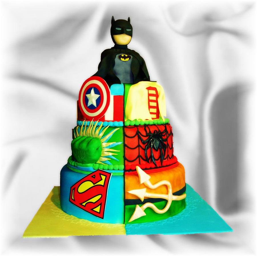 Superhero Cake Featuring Batman Robin Hulk Spider Man