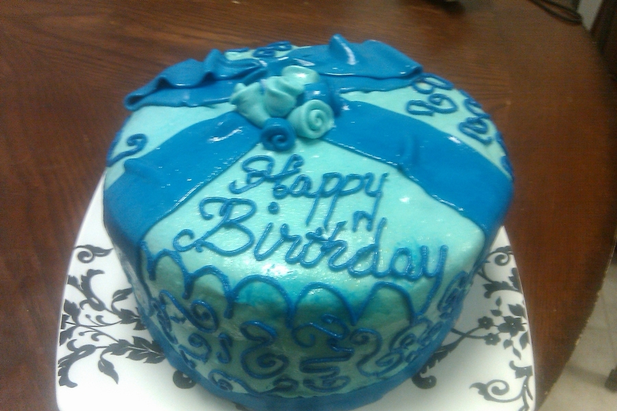 Blue Birthday Cake  on Cake Central