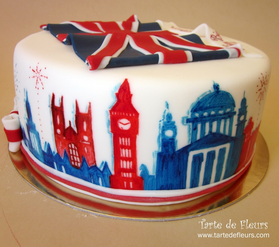 American With British Flag Birthday Cake