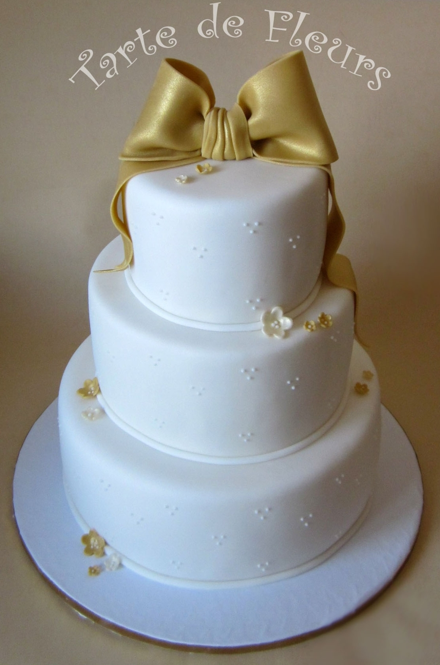 Gold Bow Wedding Cake on Cake Central