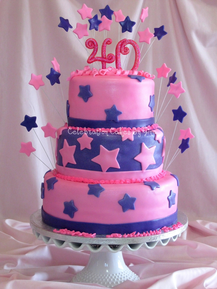 Pink Amp Blue 40th Birthday Cake Cakecentral Com