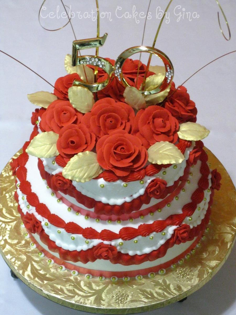 Peachy Red Roses 50Th Birthday Cake Cakecentral Com Birthday Cards Printable Trancafe Filternl