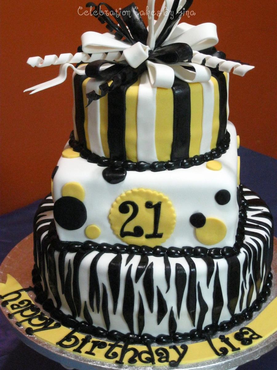 Black White Yellow Birthday Cake Cakecentral
