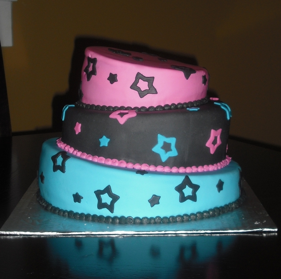 Black, Blue & Pink Topsy Turvy on Cake Central