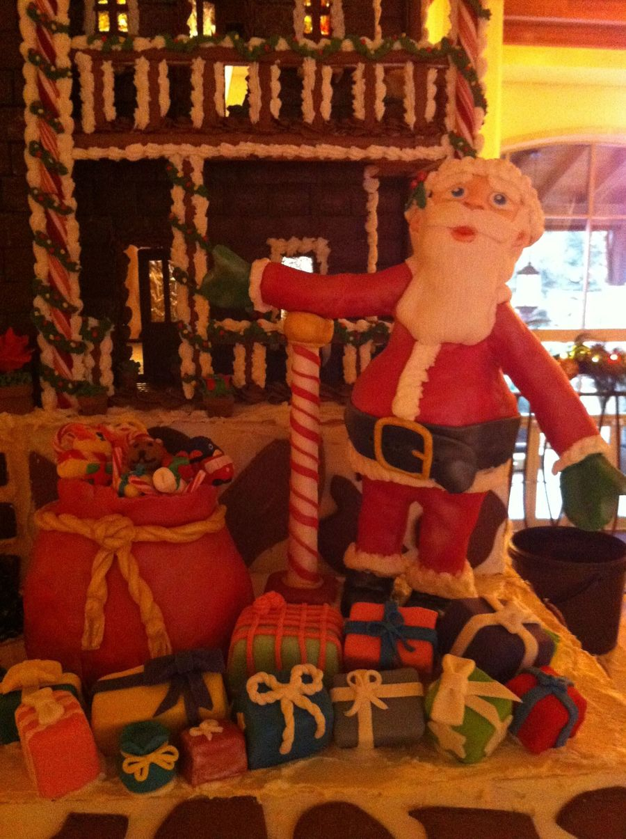 Santa And His Bag Of Toys For Gingerbread House At Work on Cake Central