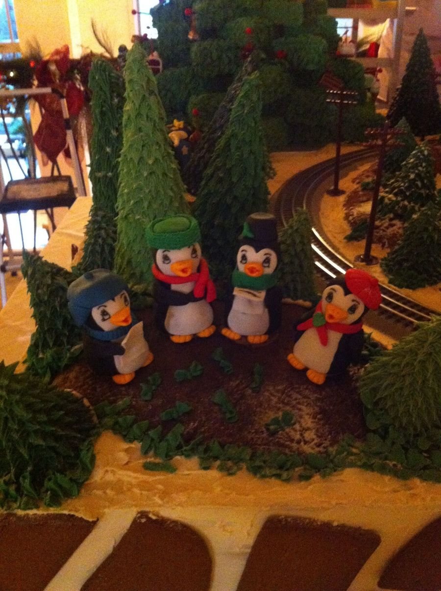 Penguins Caroling For Gingerbread House At Work on Cake Central
