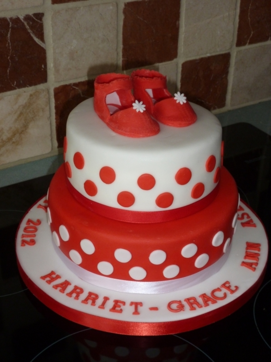 Polka Dot Christening Cake on Cake Central