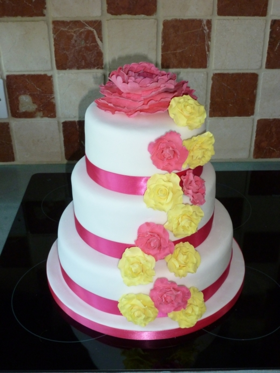 Pink And Yellow Wedding Cake on Cake Central