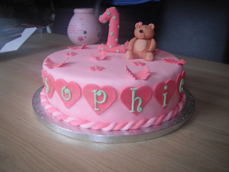 Superb Girls 1St Birthday Cake With Teddy Bear And Butterflies Funny Birthday Cards Online Drosicarndamsfinfo