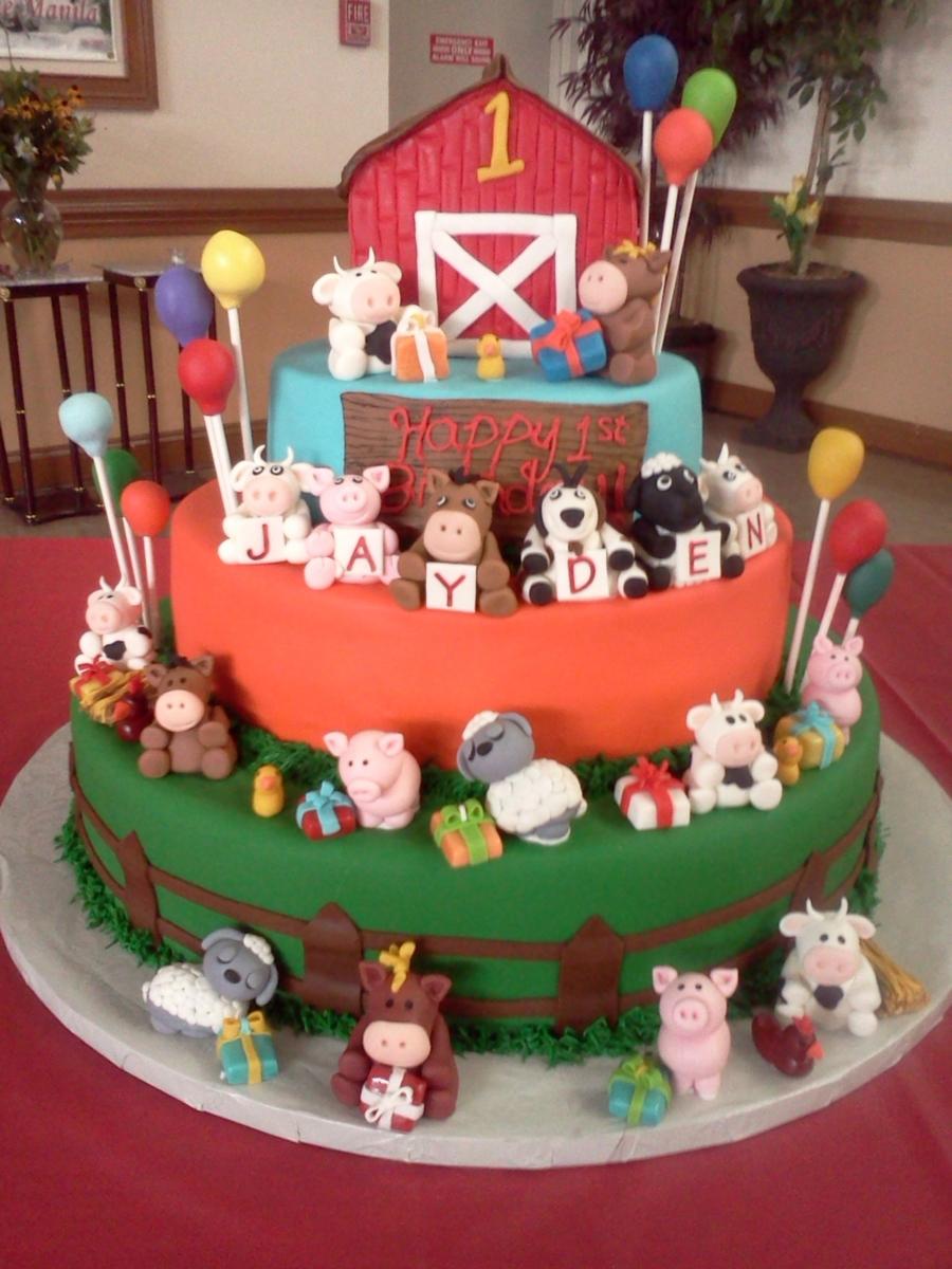 Barnyard First Birthday Cake