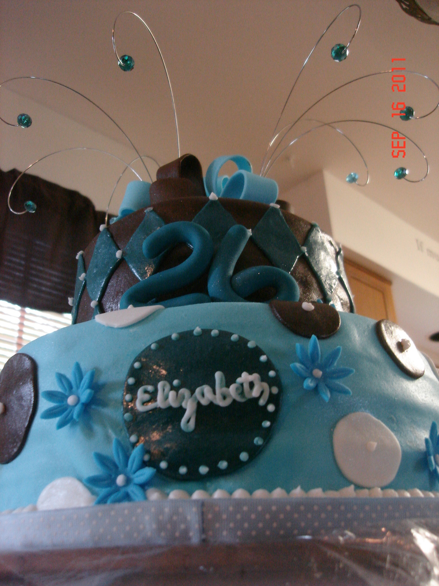 Girly Blue Birthday Cake CakeCentralcom