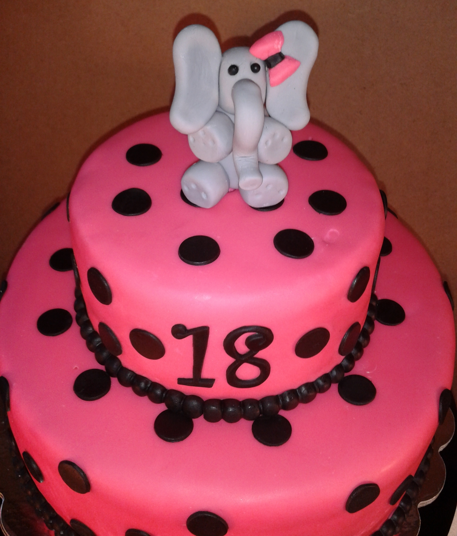 elephant birthday cake polka dot 18th birthday elephant cake cakecentral 3873