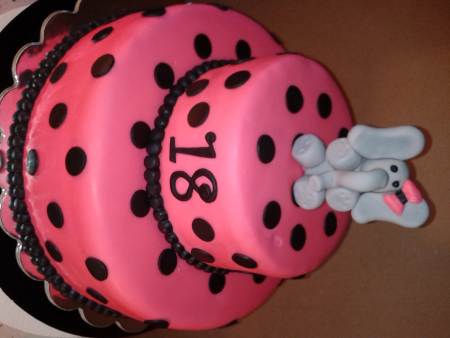 Sensational Polka Dot 18Th Birthday Elephant Cake Cakecentral Com Funny Birthday Cards Online Overcheapnameinfo