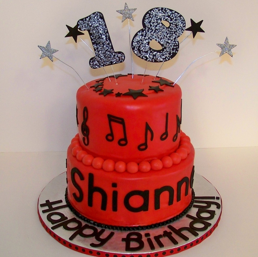 Red black music themed 18th birthday cake for 18th birthday cake decoration