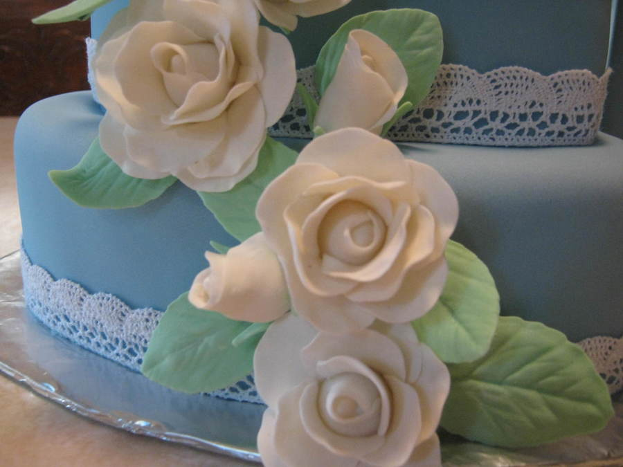 Blue Cake With White Roses Cakecentral