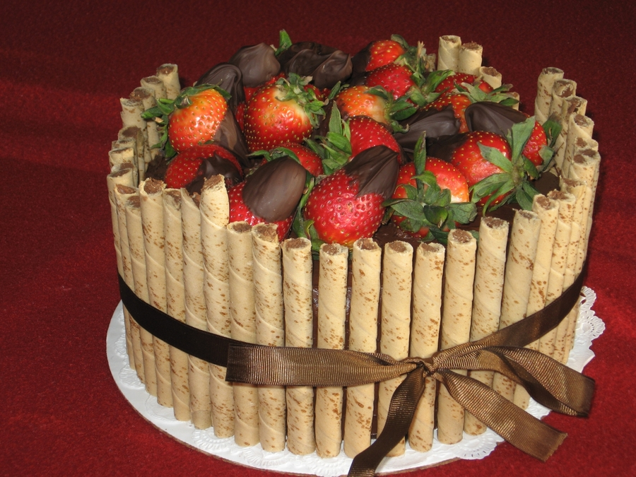 Chocolate Cake With Strawberries And Pirouettes on Cake Central