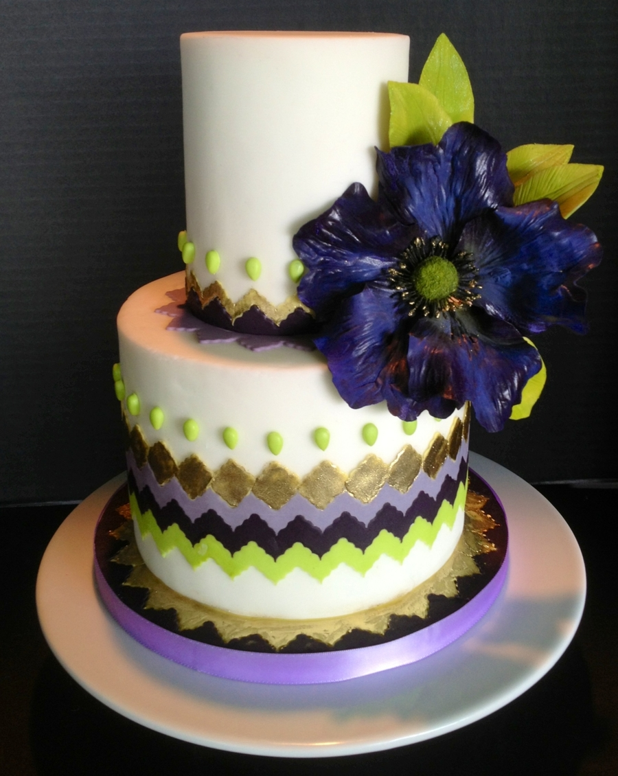 Purple Gold And Green Chevron Cake With Purple Fantasy Flower on Cake Central