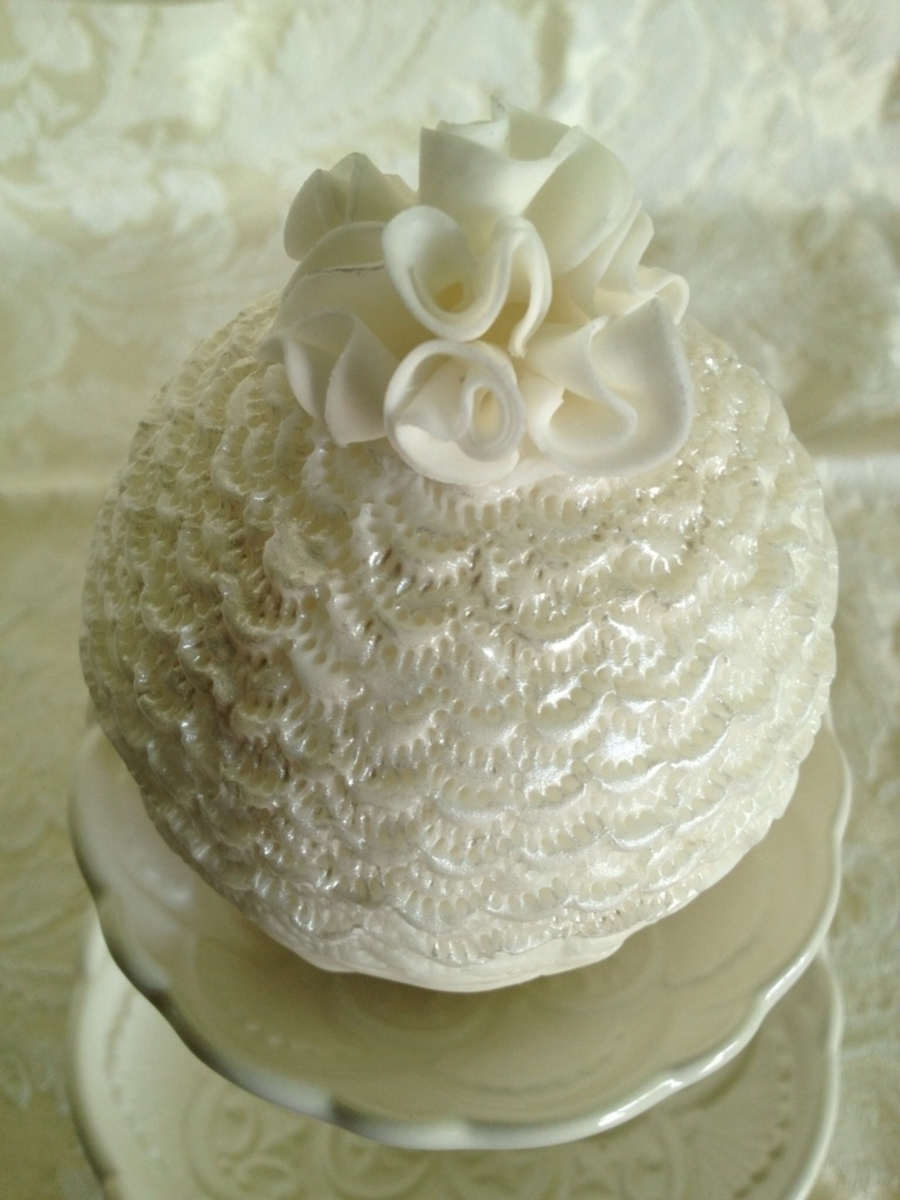 Bauble Cake With Ruffle Flower on Cake Central