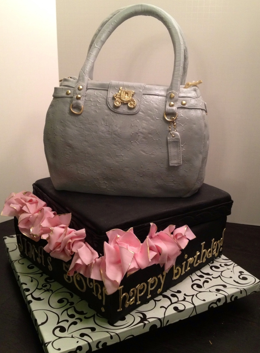 Coach Purse Cake With Gift Box on Cake Central