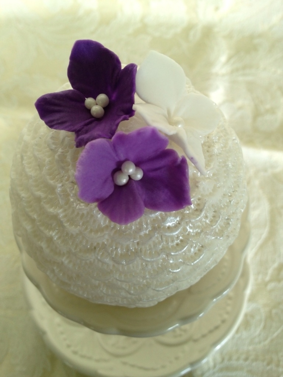 Bauble Cake With Purple Hydrangeas on Cake Central