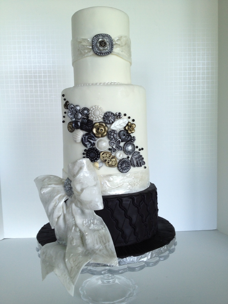 Button And Bows Wedding Cake  on Cake Central