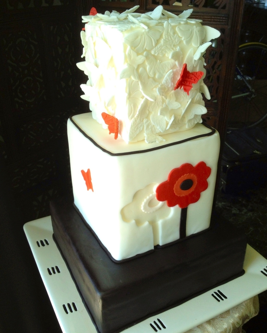 A Red Poppy And Butterflies on Cake Central