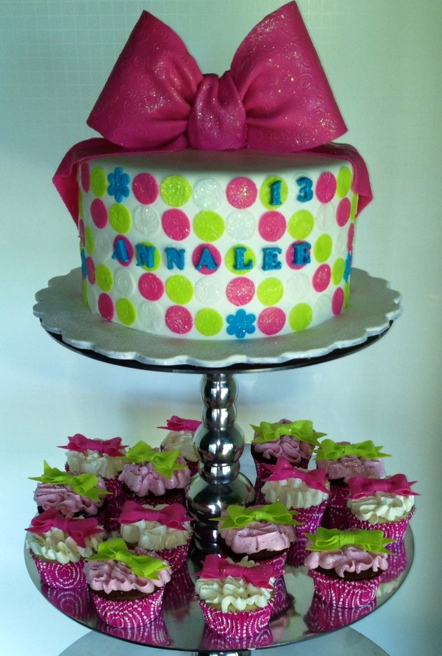 Pink And Green Polka Dots Bows And Sparkle For Annalees 13Th Birthday on Cake Central