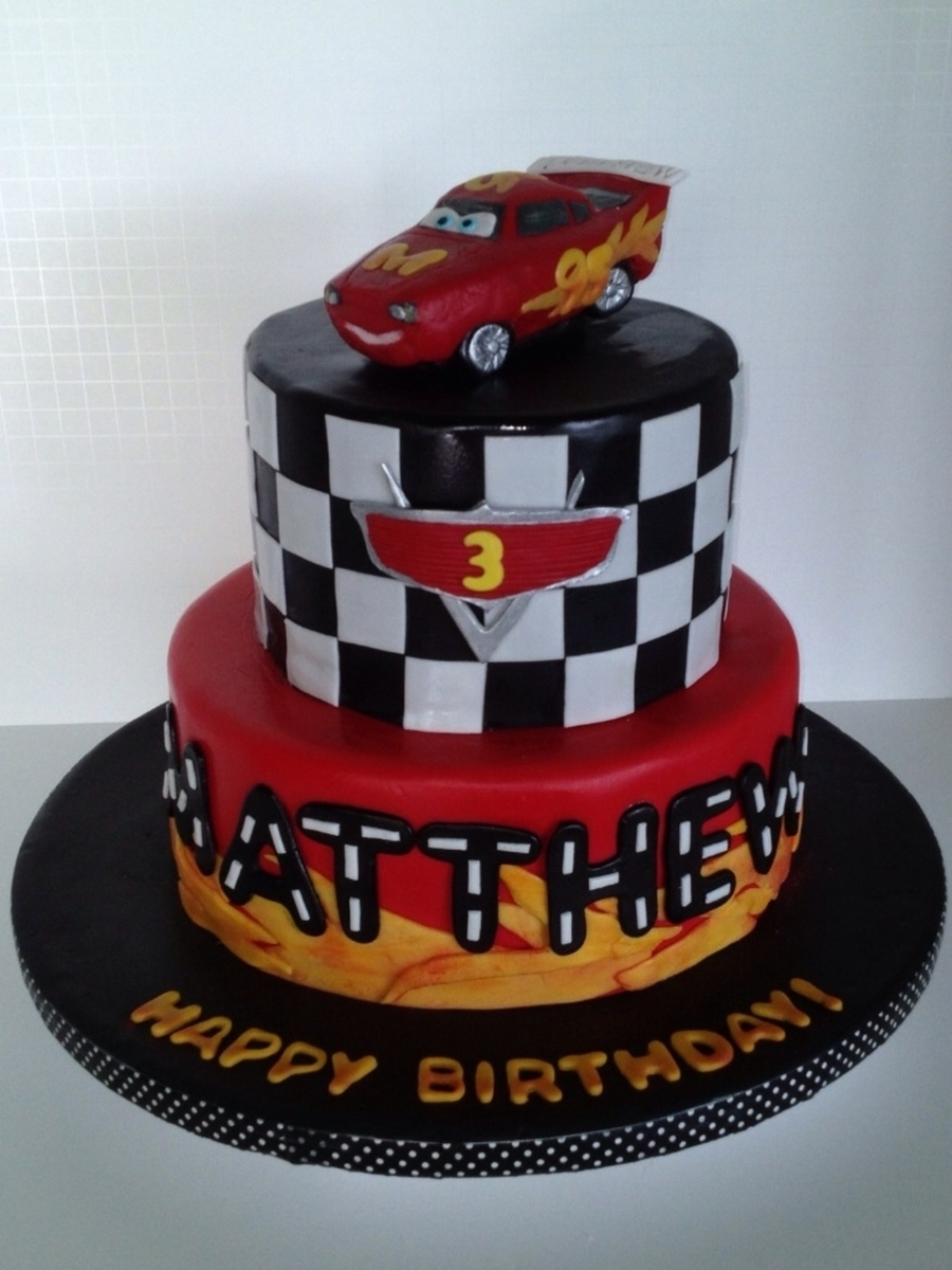 Super Lightning Mcqueen Birthday Cake Cakecentral Com Personalised Birthday Cards Veneteletsinfo