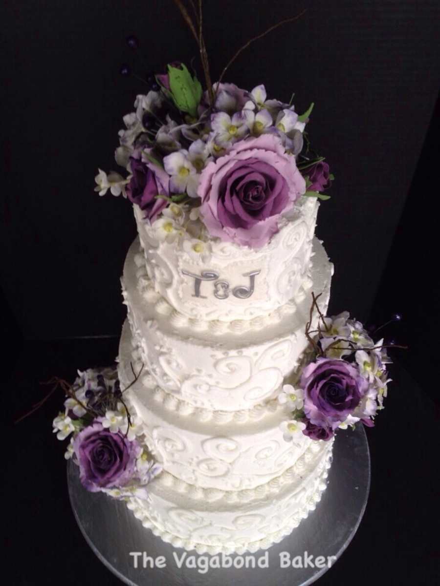 Buttercream Scroll Cake With Purple Roses Hydrangeas And Berries on Cake Central