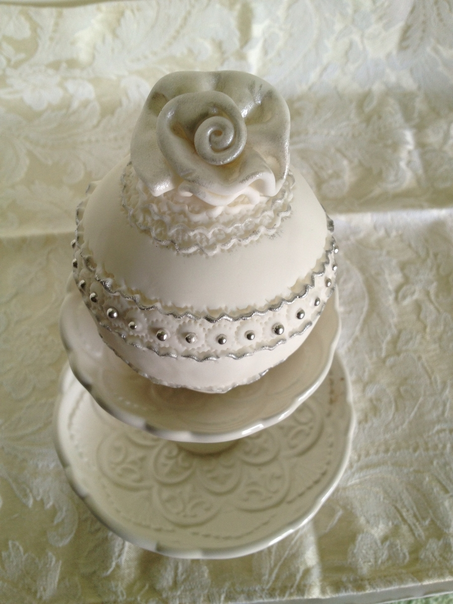 Bauble Cake With Rolled Rose  on Cake Central
