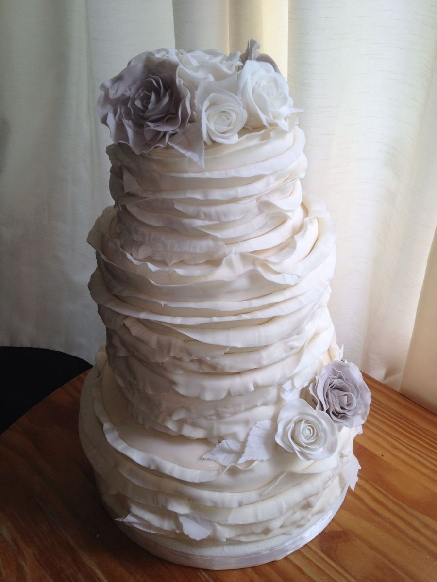 Ivory Ruffles With White And Gray Roses on Cake Central