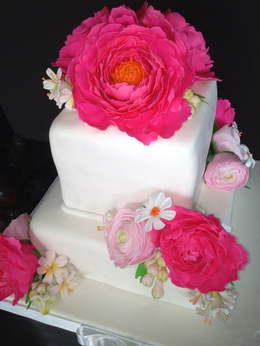 Pink Peony And Ranunculas Cake  on Cake Central