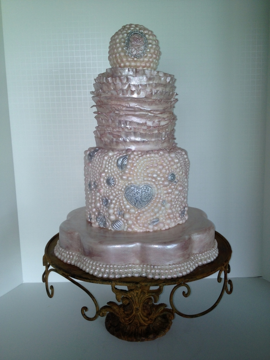 Blush And Ivory Pearls And Ruffles Cake on Cake Central