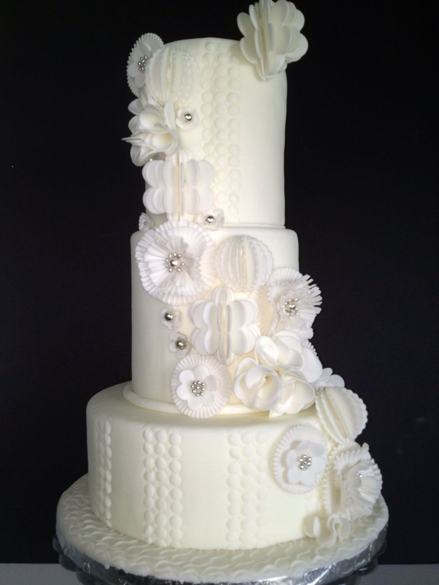 White Modern Fantasy Flower Wedding Cake on Cake Central